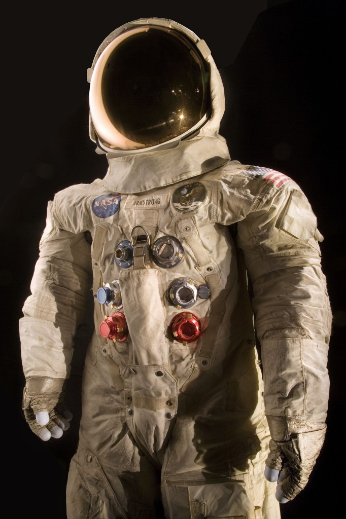 The spacesuit worn by astronaut Neil Armstrong, commander of the Apollo 11 mission, which landed the first man on the moon on July 20, 1969. (Smithsonian Institution)