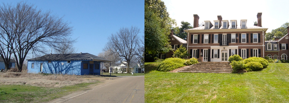 (Left) A vacant store in Mississippi, America's poorest state. (Right) A home in Maryland, the richest state in the U.S., according to US Census data. (Photo on left by Flickr user Jimmy Smith, photo on right by Flickr user Gramophone Maryland, both via Creative Commons license)