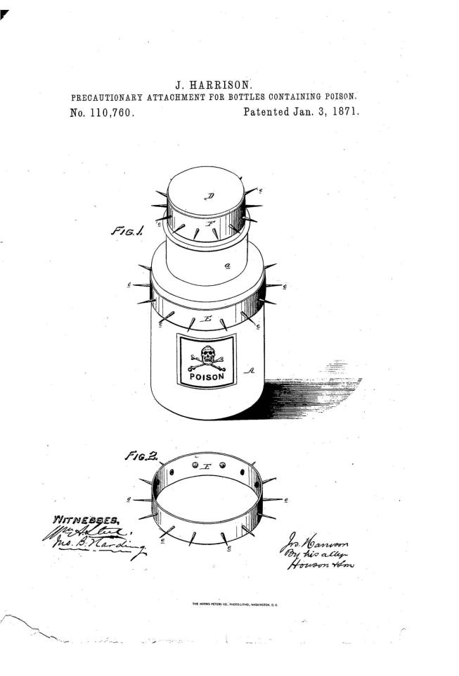 Precautionary Attachment for Bottles Containing Poison