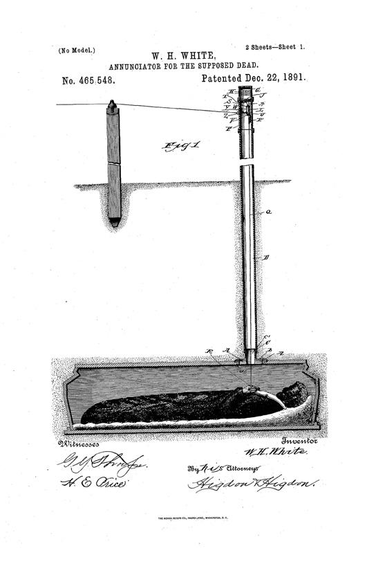 An 1891 patent by William White of Topeka, Kansas for an Annunicator for the Supposed Dead.