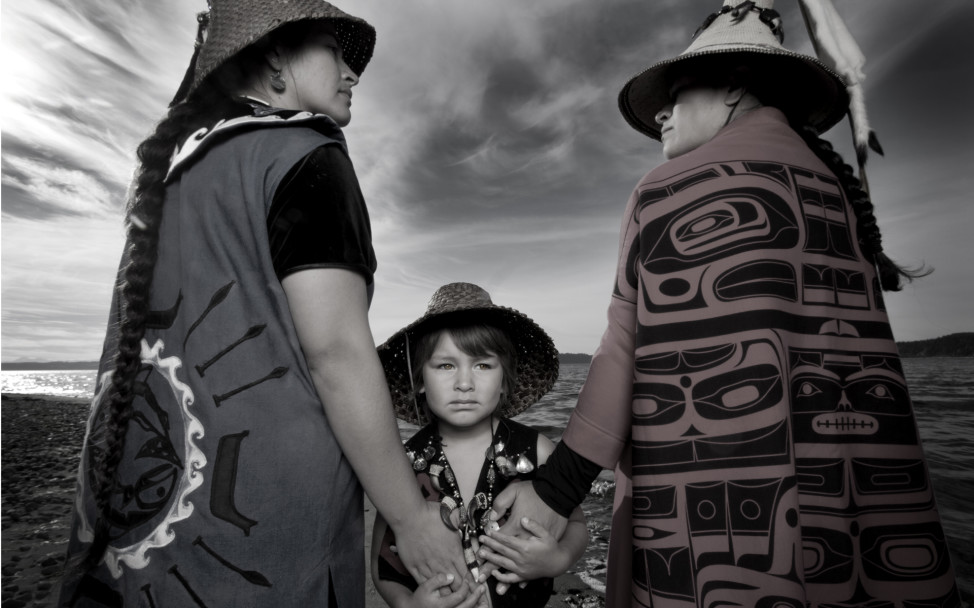 Darkfeather, Bibiana and Eckos Ancheta from the Tulalip Tribe. (Photo by  Matika Wilbur)