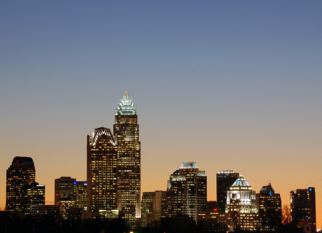 A view of the Charlotte, North Carolina skyline. North Carolina is one of the most popular states for Americans to relocate to. (Photo by Flickr user James Willamor via Creative Commons License)
