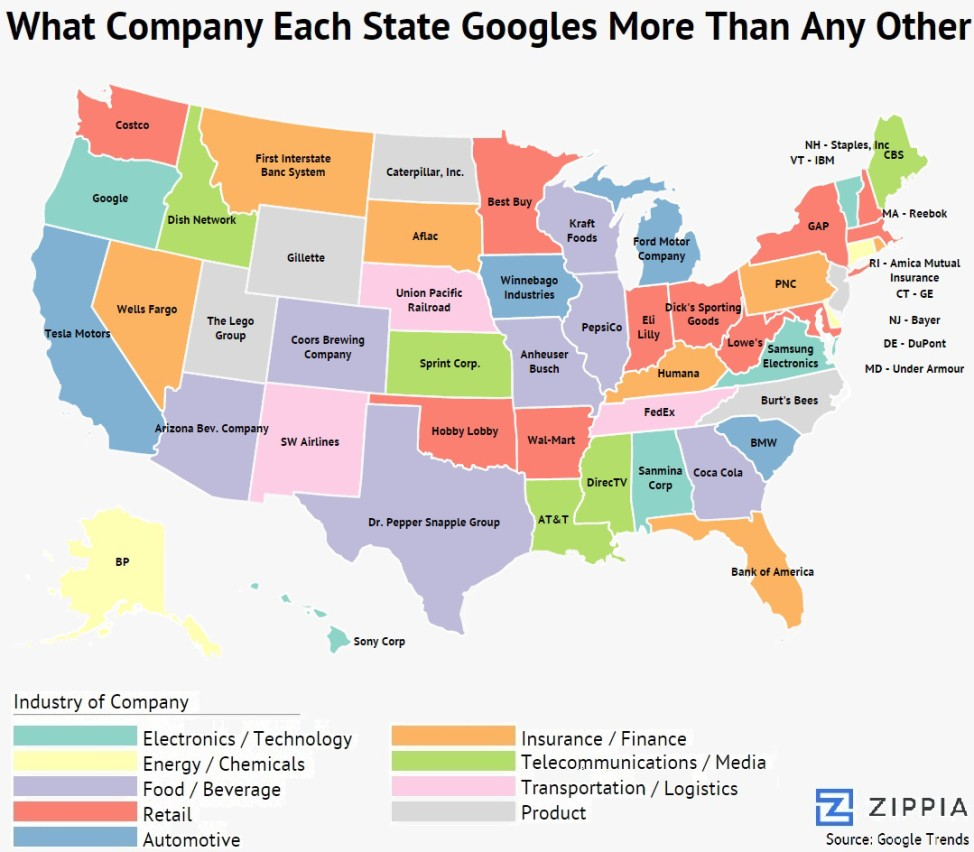 Here Are The Most Googled Companies In Each State