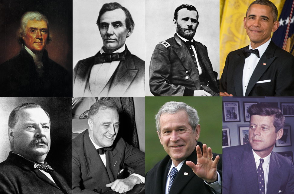 U.S. presidents and their places of birth: (Top row, from left) Thomas Jefferson (Virginia), Abraham Lincoln (Kentucky), Ulysses S. Grant (Ohio), Barack Obama (Hawaii), (Bottom row from left) Grover Cleveland (New Jersey), Franklin D. Roosevelt (New York), George W. Bush (Connecticut), John F. Kennedy (Massachusetts)