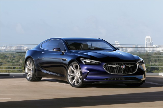 The Buick Avista in a chromatic blue that glows  from one angle and deepens to black from another. (Photo ©General Motors)