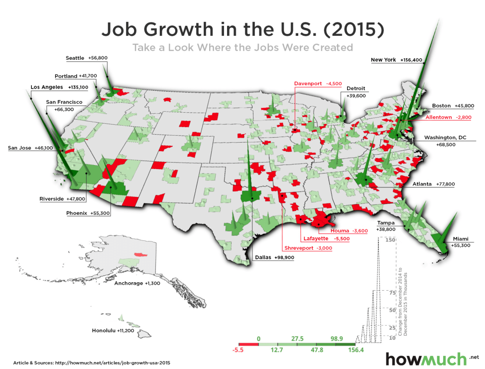 This map uses data from the Bureau of Labor Statistics (BLS) to show the number of new jobs by metropolitan area. (Graphic by HowMuch.net)