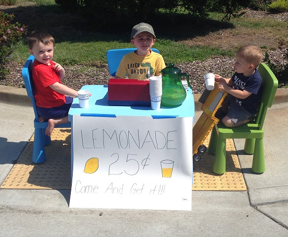 Enterprising young men with their lemonade stand. (Photo by Flickr users Max and Miles Hanley via Creative Commons license)
