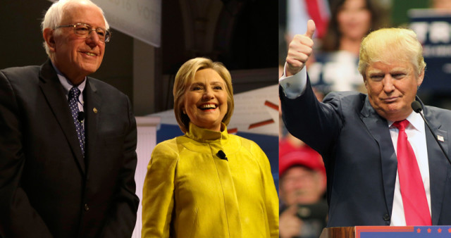 Presidential hopefuls Democrats Sen. Bernie Sanders and former Secretary of State Hillary Clinton, along with Republican Donald Trump all have ties to New York. (AP Photos)