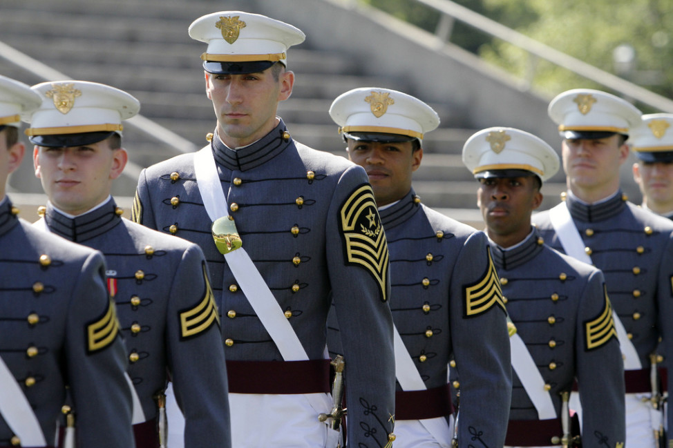 FILE -- Graduating cadets line up at the U.S. Military Academy at West Point in New York. Seventy-eight percent of people surveyed felt being a military officer is a high-prestige profession. (Photo by Mike Strasser, West Point Public Affairs via Flickr)