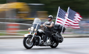 A participant in the Rolling Thunder motorcycle ride is seen during the event in Washington