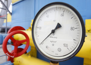 A pressure gauge is pictured at an underground gas storage facility in the village of Mryn