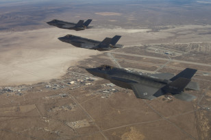 Handout photo of three F-35 Joint Strike Fighters flying over Edwards Air Force Base