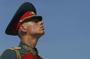 A Russian serviceman takes part in a ceremony to mark the Paratroopers Day in central St. Petersburg