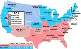 Vətəndaş Müharibəsi başlayan zaman ABŞ-ın xəritəsi - azad ştatlar mavi, quldarlığın olduğu ştatlar isə çəhrayı rəngdə əks olunur.