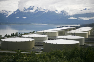 A field of 14 storage tanks that each hold 510,000bbls of oil can be seen at the Trans-Alaska Pipeline Marine Terminal in Valdez, Alaska
