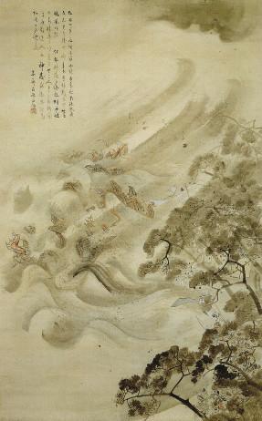 Monqol donanmasını tayfun darmadağın edir. Kikuçi Yosai, 1847.