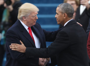 U.S. President-elect Trump greets outgoing President Obama before Trump is inaugurated during ceremonies on the Capitol in Washington