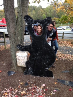 Sadly, we didn't see any black bears, but we did to take pictures with this fake bear!