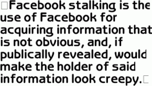 One student's definition of Facebook Stalking