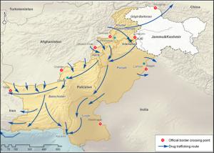 UNODC Pakistan Afghanistan Drug Routes Map