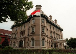 The Embassy of Indonesia near Dupont Circle in Washington. The 60-room mansion was built at the turn of the 20th century for Tom Walsh, a millwright's apprentice who discovered gold in Colorado. (AP Photo/Leslie E. Kossoff)