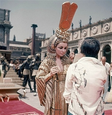 "Elizabeth Taylor on the set of the movie ""Cleopatra"""