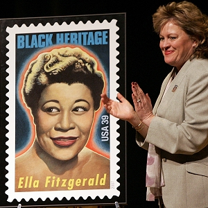 A postage stamp honoring Ella Fitzgerald, the First Lady of Song, Jan. 10, 2007