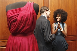 Esperanza Spalding, right, talks with John Hasse (AP)