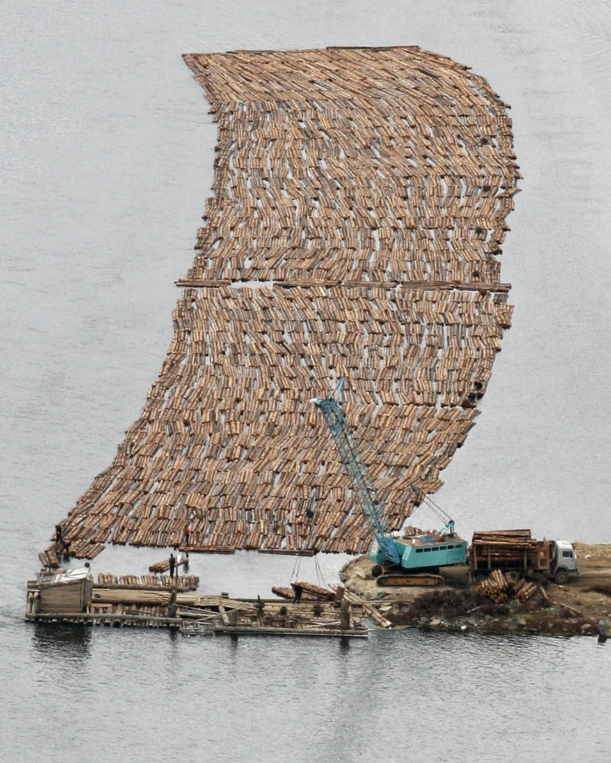 """Russia Siberia Timber Rafts"""