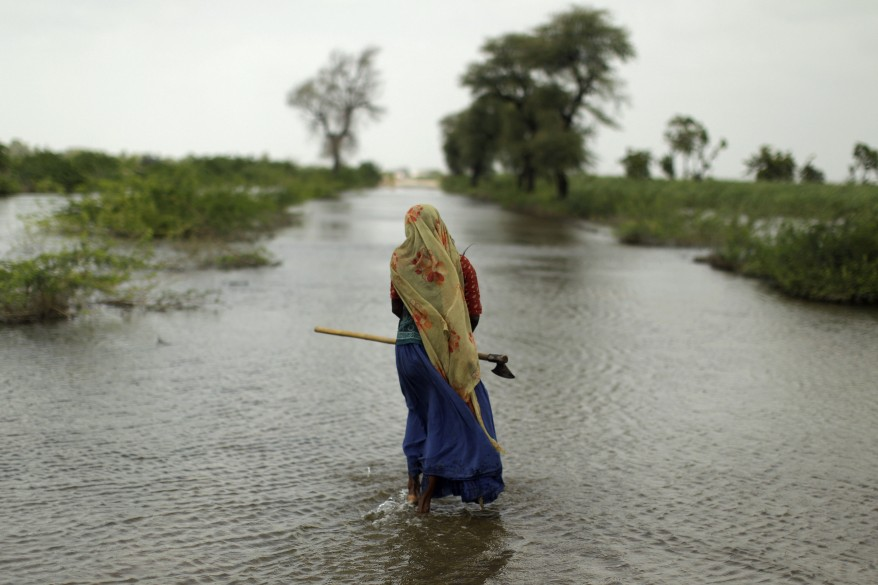 A Pakistani woman displaced by the floods walks along a flooded road holding an axe to cut wood, in Digri district near Hyderabad, Pakistan. (AP)