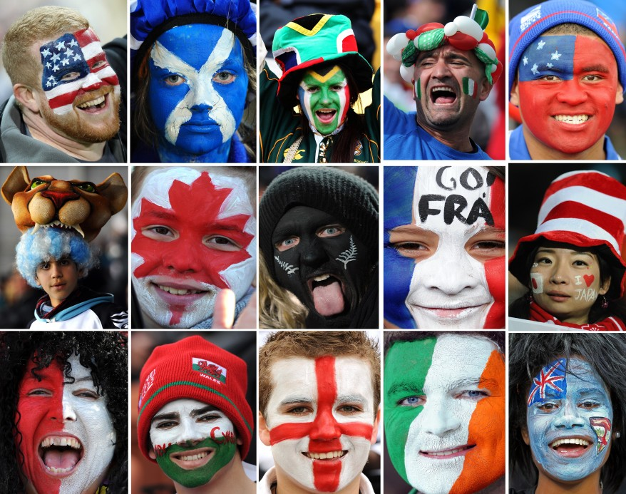 Combo picture shows fans wearing face paint with the colors of the 15 out of 20 countries participating in the 2011 Rugby World Cup. (AFP)