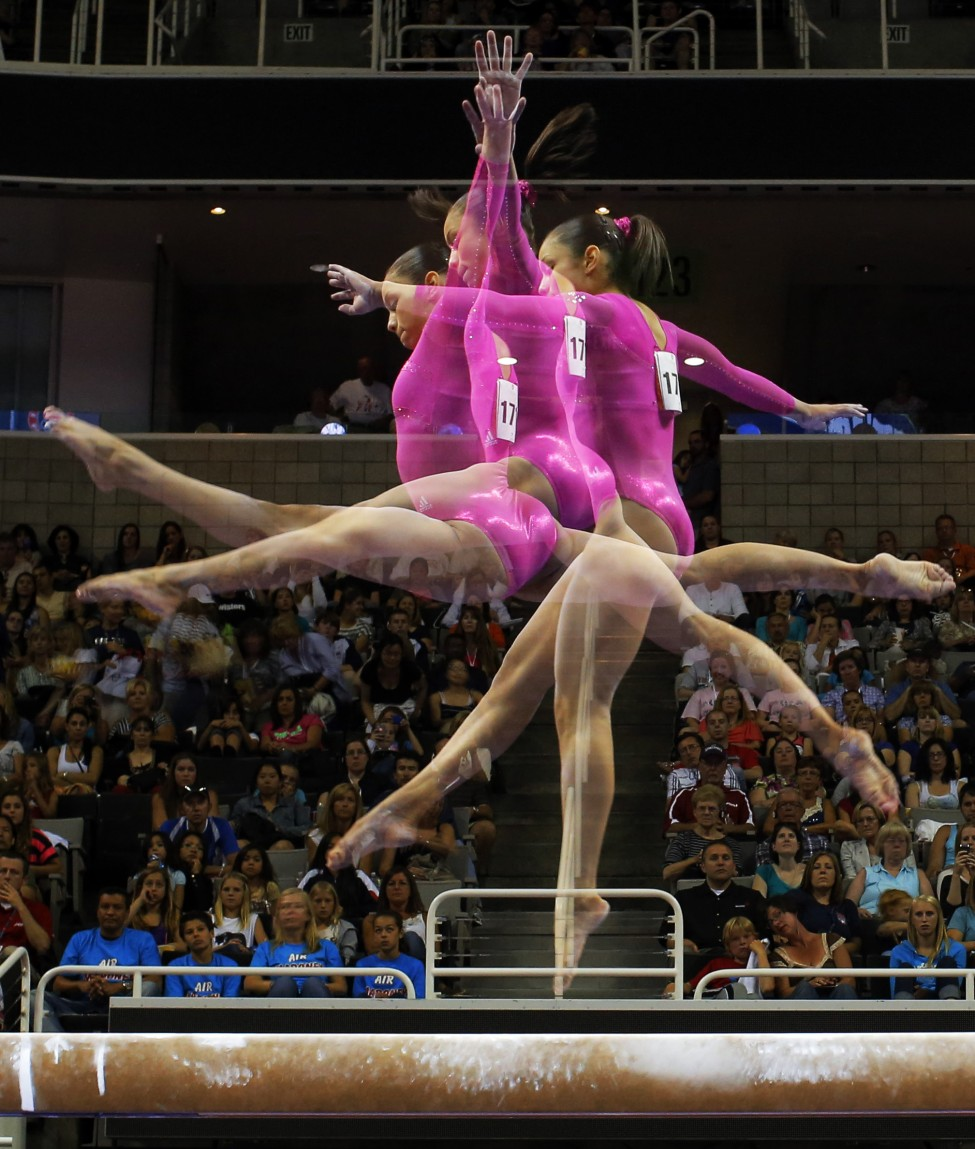 U.S. gymnast Sabrina Vega competes on the balance beam in this multiple exposure photograph at the U.S. Olympic gymnastics trials in San Jose, California June 29, 2012. (Reuters)