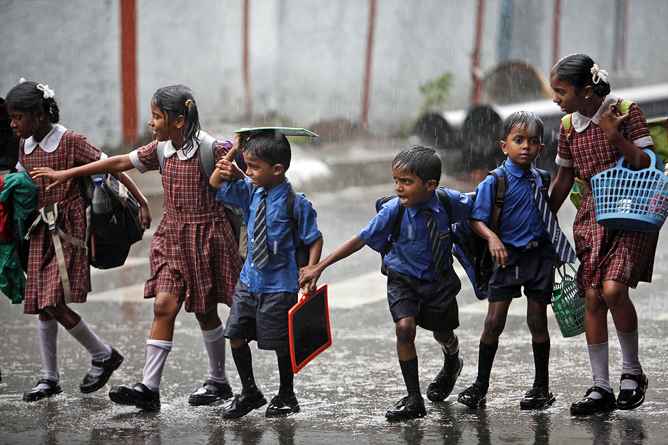 India Monsoon Schoolchildren