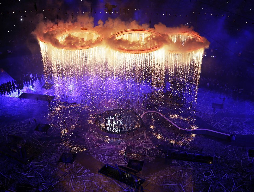 伦敦奥运开幕式五环点燃