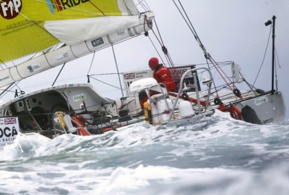 British skipper Samantha Davies sails after crossing the starting line of the Vendee Globe sailing race off the Atlantic coast of the town of Les Sables d'Olonne, western France. (AP)