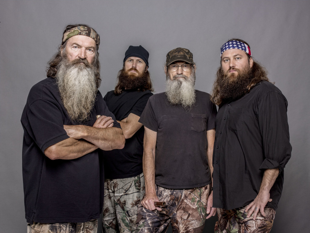 "This 2012 photo released by A&E shows, from left, Phil Robertson, Jase Robertson, Si Robertson and Willie Robertson from the A&E series, ""Duck Dynasty.""  (AP Photo/A&E, Zach Dilgard)"