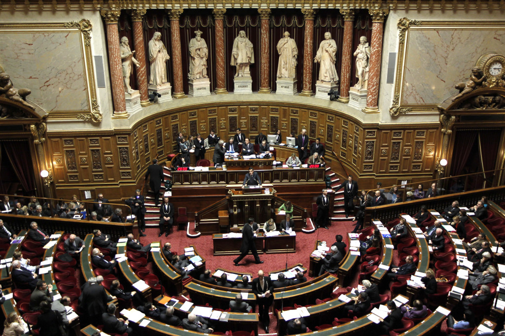 General view of the hemicycle during a debate about the right to vote in local elections for foreigners at the French Senate in Paris