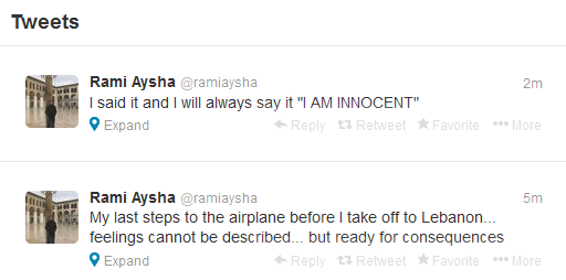 Aysha's last tweets before heading back to Lebanon from Thailand, Friday, December 6. Screen Grab.