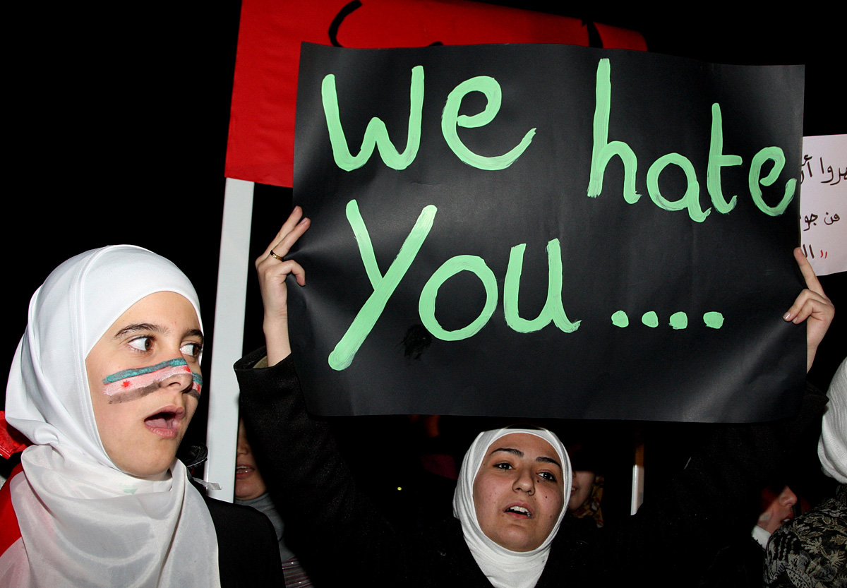 Syrians Living In Jordan Shout Slogans Against Syrias President Bashar Al Assad During A