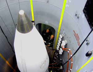A ground based interceptor rocket at the missile defense site at Ft. Greeley, near Fairbanks, Alaska, is inspected in the Aug. 2006 photo by US Air Force Lt. Gen. Trey Obering, then Director of the Missile Defense Agency, and Donald H. Rumsfeld, then Defense Secretary.  AP Photo: AP: Robert  Burns