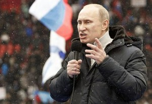 The U.S. is scary, Russian Prime Minister Putin warned the faithful at a Moscow rally in February when he was running for President. AP Photo.