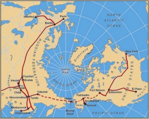 World Map Bering Strait.Join Russia And Usa By Rail Tunnels Under The Bering Strait