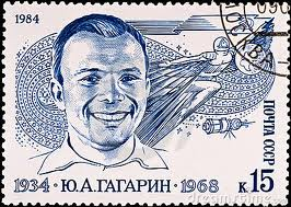 USSR stamp honoring Gagarin after his death in 1968 during a MIG-15 training flight.