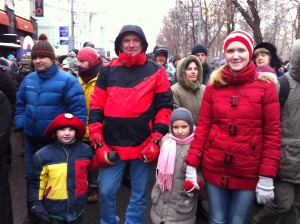 Moscow family marches against the ban on American adoptions. Photo: James Brooke