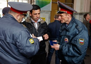 After the Boston Marathon bombings, Russian Interior Ministry officers started to check the identity documents of passengers arriving at the rail station of Sochi, the host city for the 2014 Winter Olympics. Photo: Reuters/Alexander Demianchuk
