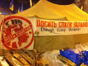 "On a tent in Kyiv's Maidan Square, the symbol, alluding to Moscow, reads: ""Stop Slavery."" VOA Photo: James Brooke"