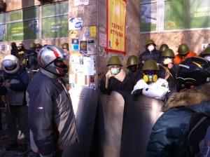 "Volunteer ""fighters"" prepare to leave the Maidan for a mission. VOA Photo: James Brooke"