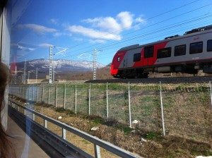 The long-awaited 'high speed train to the mountains' turned out to be just a modern, imported train traveling on a new rail line, at 30 km/hour. VOA Photo: James Brooke