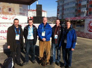 No complainers here. VOA Sochi team enjoys the February sunshine. From left, Misha Gutkin, Jon Spier, James Brooke, Mike Eckels, Parke Brewer.