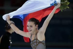 President Putin skipped this on Thursday night: Russia's Adelina Sotnikova celebrates after winning the women's figure skating event. Photo/ AP